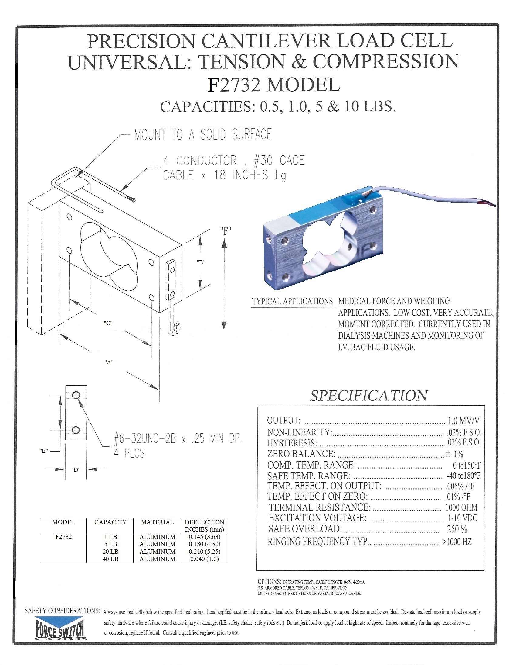 Product And Services Force Switch Load Cell Measurement Circuit Precision Cantilever Model F2732 Pdf